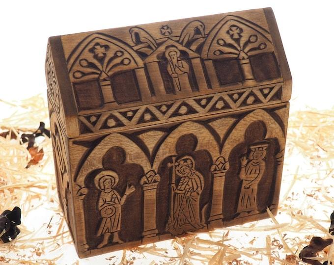 Reliquary box, wooden hand carved jewelry box, keepsake box, jewelry storage