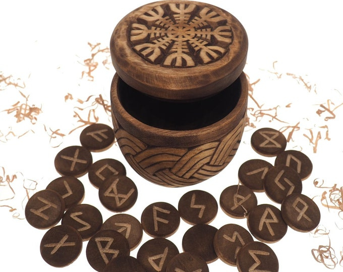 Viking Rune Set in hand carved Box with Aegishjalmur Norse Runes Elder Futhark Runes Asatru Runes Divination Runes Runes box viking Celtic