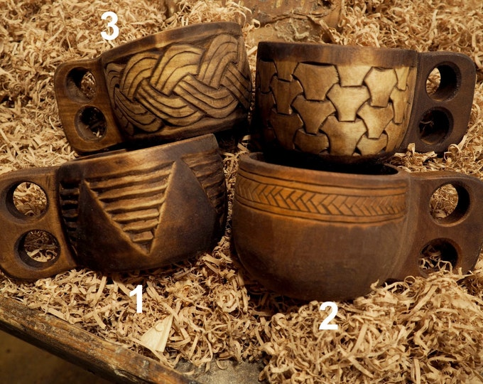 Intricately carved wooden cup viking style kuksa
