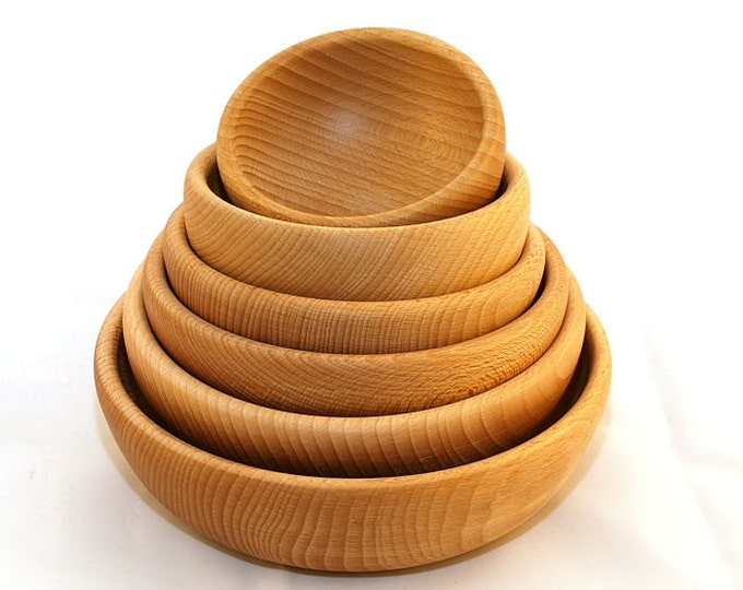Beech wooden bowl set