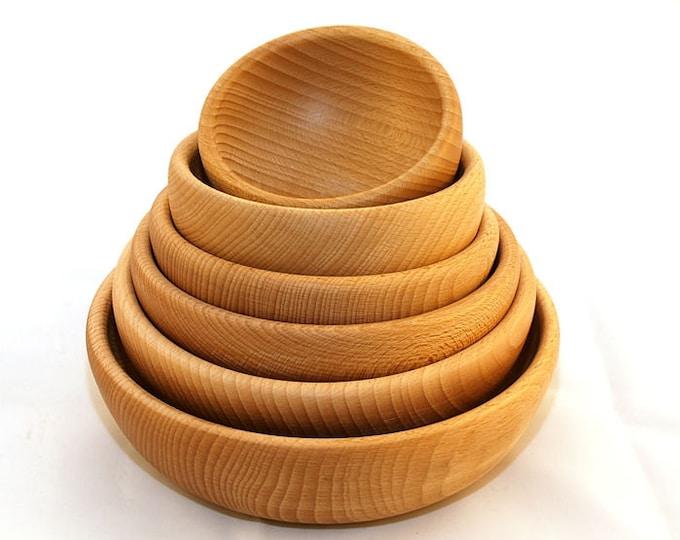 Beech wooden bowl set