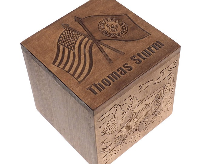 US flag Square Personalized Wood Urn For Human Ashes, Wooden Memorial Box, Carved Keepsake Cremation Urns, Cremation Boxes For Burial