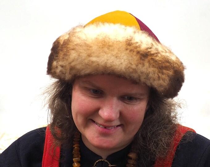 Viking wool hat, hand sewn, wool and sheep, larp, medieval, sca, unisex hat, Woolen headdress viking fur Mongol Slavic Viking clothing