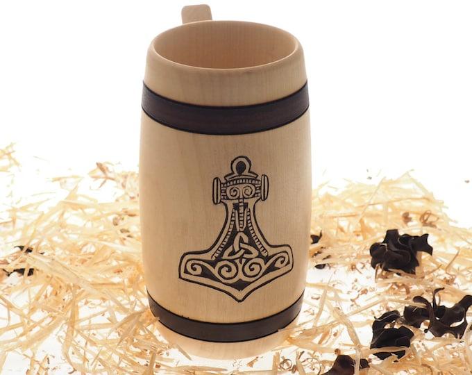 Hand Carved Wooden Beer Mug 0,7l (24 oz)  with Mjolnir, Thor hammer, Man Gift Ideas, Nordic Ornaments, Vikings Beer Tankard,