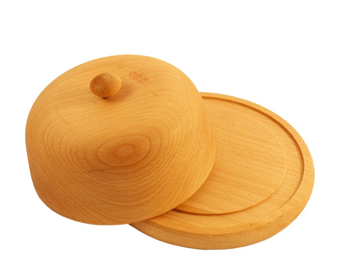 Beech wood butter dish with a lid - 100% natural wooden kitchen supplies - wood serving dish