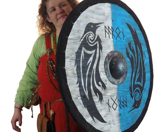 Double Ravens Personalized Viking Shield, Norsman shield, Wall decor, Larp and reenactment, SCA ready, black shield, Valhalla pattern