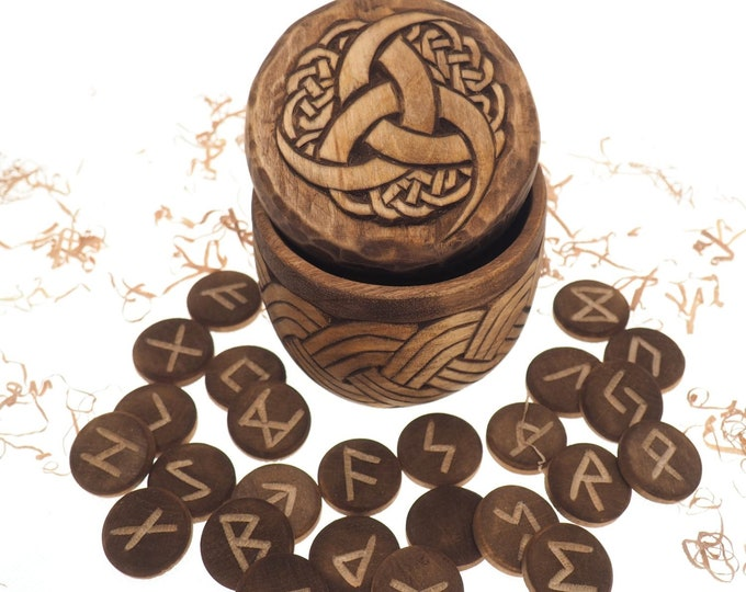 Viking Rune Set in hand carved Box with Odin's Triple Horn Norse Runes Elder Futhark Runes Asatru Runes Divination Runes Runes box viking