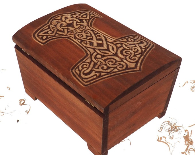 Big Wooden historical jewelry box with Thor Hammer memorial box wooden urn