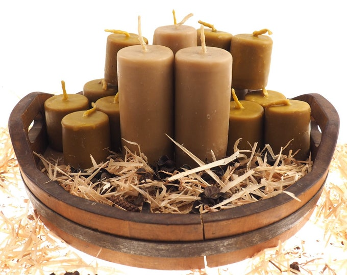 "Massive Pure Beeswax Candle, 5 and 1/2"" high Unscented Beeswax Pillar Candle, Hand Made, Natural Eco Friendly Meditation, Prayer or Altar"