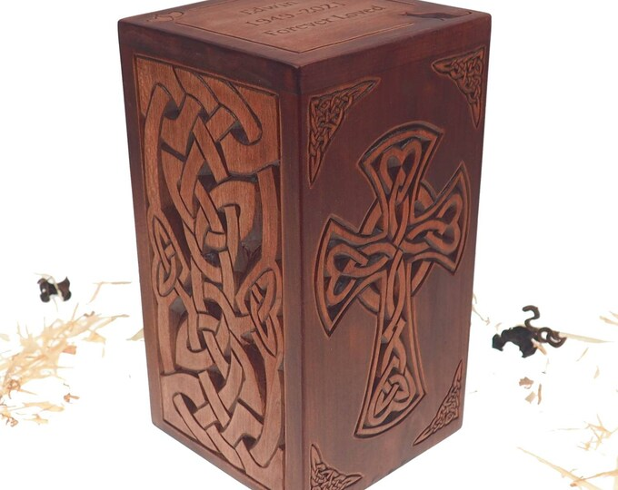 Personalized Wood Urn For Human Ashes, Celtic cross and plait motive, Wooden Memorial Box, Carved Keepsake Cremation Urns, Boxes For Burial