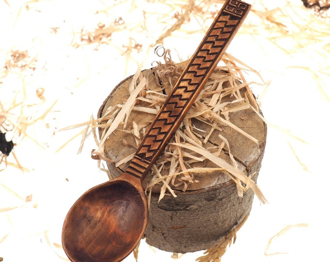 Wooden Hand Carved Spoon, viking pattern, Medieval Spoon,Wood Cutlery, Medieval Kitchen, Dining Appliances,Viking Kitchen, SCA, personalized