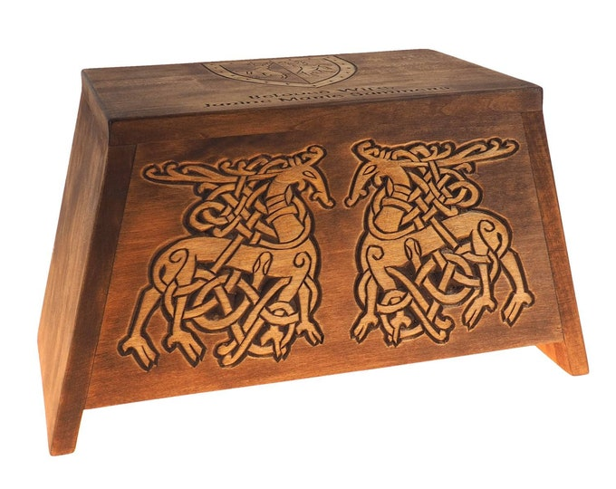 Stag pattern Personalized Wood Urn For Human Ashes, Wooden Memorial Box Carved , Keepsake Urns, Cremation Boxes For Burial, Viking pagan