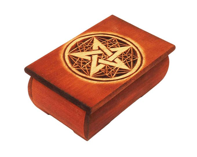 Wooden Historical Jewelry Box - Pentagram