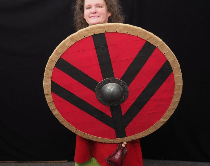 Viking Shield Lagertha Pattern in red, Norsman shield, Wall decor, Larp and reenactment, SCA ready
