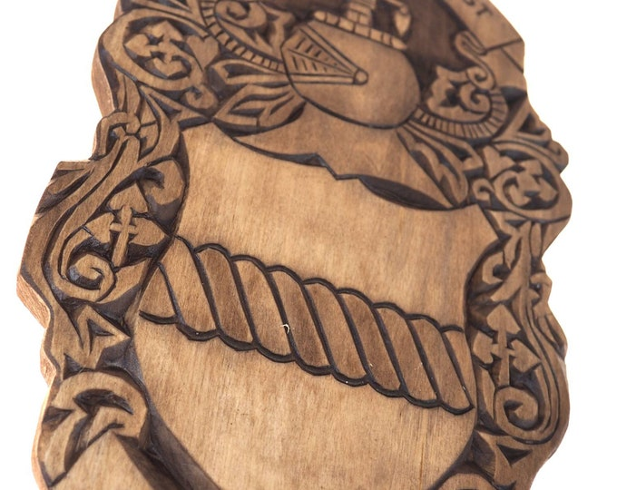 Pearson Personalized Family Crest, Hand Carved, Coat of Arms, Custom, Family Shield, Wooden Emblem, Wedding Wood Art, Heraldic, Woodcraft