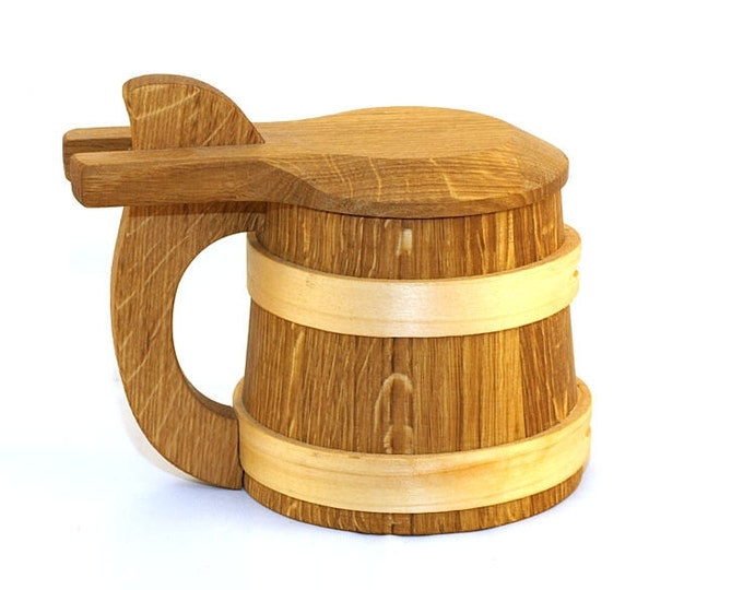 Wooden Beer Mug 1/2 litre with a lid|beer mug|wooden cup|wooden drinking mug|historical mug||rustic mug|medieval replica|Game of Thrones