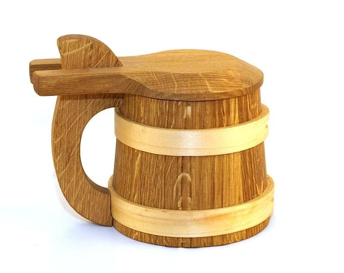 Wooden Beer Mug 1/2 litre with a lid|beer mug|wooden cup|wooden drinking mug|historical mug||rustic mug|medieval replica|Game of Thrones