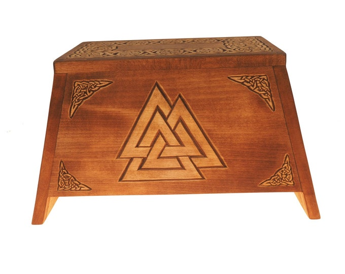 Valknut Wooden Urn For Human Ashes, Wooden Memorial Box, Hand Carved, Keepsake Cremation Urns, Cremation Boxes For Burial, Celtic pagan