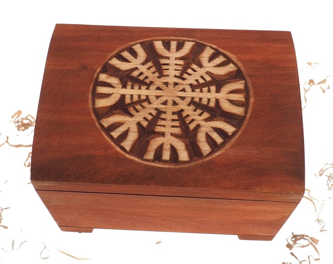 Big Wooden historical jewelry box with Aegishjalmur pattern memorial box wooden urn
