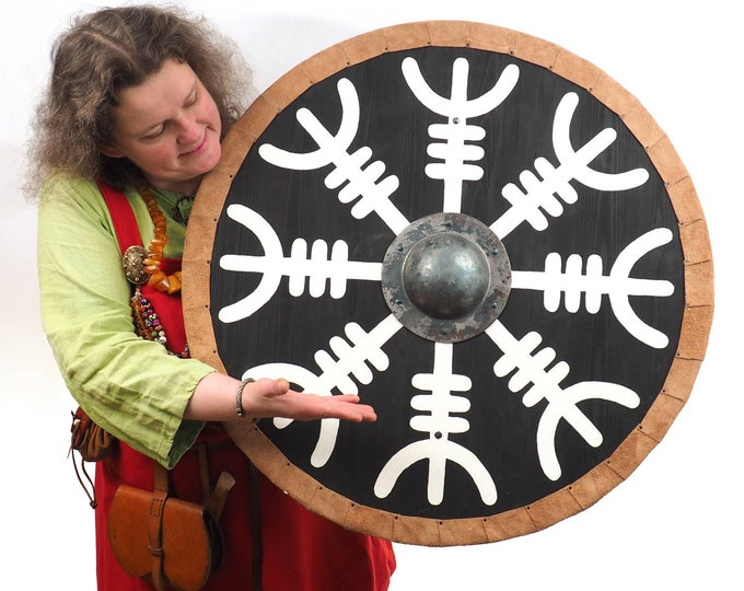 Aegishjalmur Viking Shield Pattern, Norsman shield, Wall decor, Larp and reenactment, SCA ready, black shield