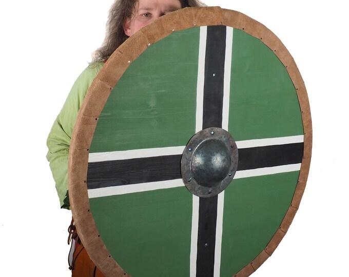 Vinland flag Viking Shield Pattern, Norsman shield, Wall decor, Larp and reenactment, SCA ready, black shield