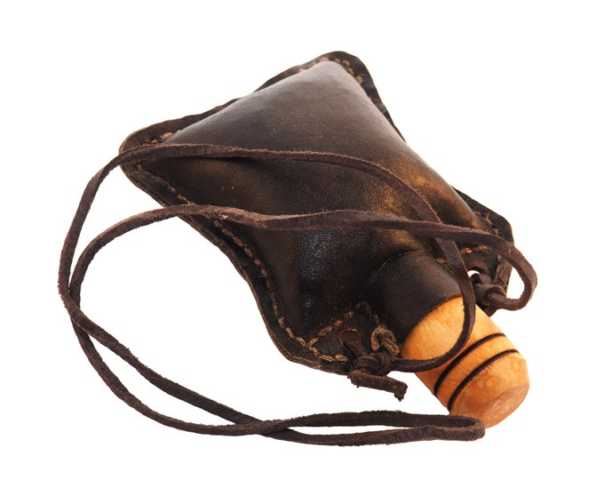 Small hand crafted authentic medieval wine skin with wooden stopper leather flask bladder ALL NATURAL Witcher Netflix