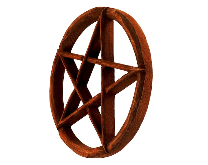 Wooden pentacle wall sign, wooden pentagram wall hanging, supernatural protection, wicca decor, hand carved pentacle, hand carved pentagram