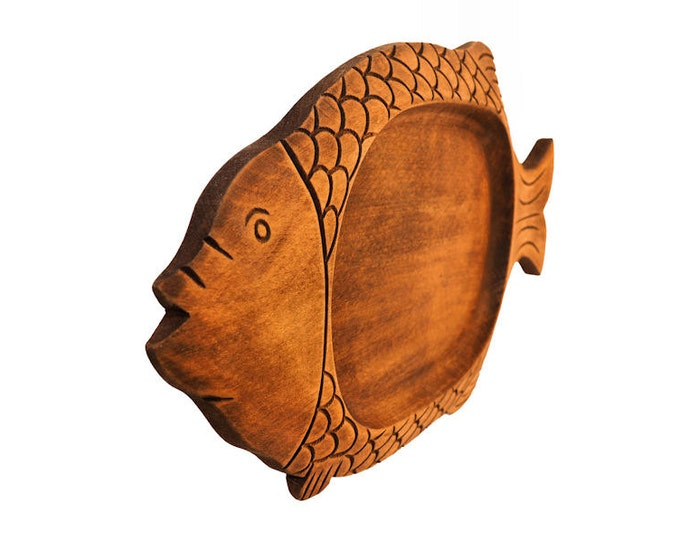 Hand Carved Wooden Fish Tray