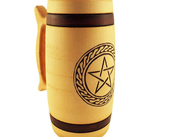 Hand Carved Wooden Beer Mug 0.7 litre ( 23 oz )  with Pentagram and Plait Man Gift Ideas, Nordic Ornaments, Vikings Beer Tankard,