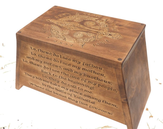 Viking Personalized Wood Urn For Human Ashes, Wooden Memorial Box Carved , Keepsake Cremation Urns, Cremation Boxes For Burial, Viking pagan