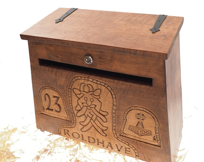 Big Personalised Viking MailBox,  Wooden Wall Mount,  CardBox with Key, Hanging Post Box with a slot, Housewarming Gift, Wedding Gift