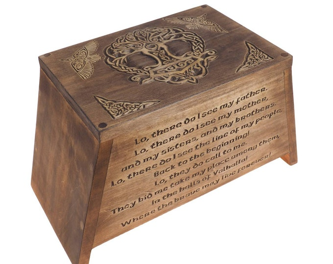 Viking Personalized Wood Urn with Yggdrasil, Wooden Memorial Box Carved , Keepsake Cremation Urns, Cremation Boxes For Burial, Viking pagan