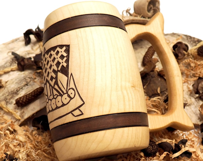 Hand Carved Wooden Beer Mug 0,7l (24 oz)  Viking ship from  from Broa in Halla (Gotland, Sweden) Man Gift Ideas, Vikings Beer Tankard,