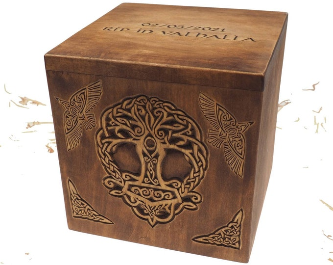 Square Personalized Wood Urn For Human Ashes, Thor hammer Yggdrasil Memorial Box, Carved Keepsake Cremation Urns, Cremation Boxes For Burial