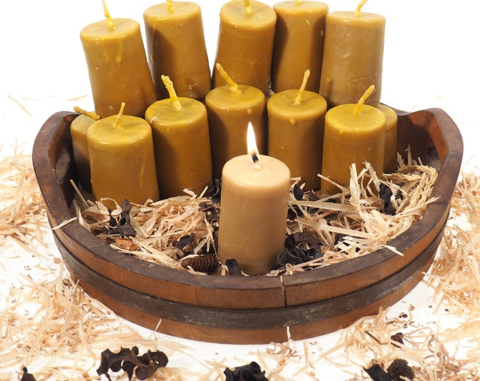 "Pure Beeswax Candle, 3 and 1/2"" high Unscented Beeswax Pillar Candle, Hand Made, Natural Eco Friendly for for Meditation, Prayer or Altar"