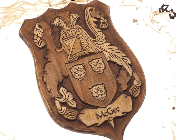 McGee Personalized Family Crest, Hand Carved, Coat of Arms, Custom, Family Shield, Wooden Emblem, Wedding Wood Art, Heraldic, Woodcraft
