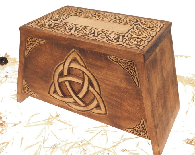 Triquetra Wooden Urn For Human Ashes, Wooden Memorial Box, Hand Carved, Keepsake Cremation Urns, Cremation Boxes For Burial, Celtic pagan