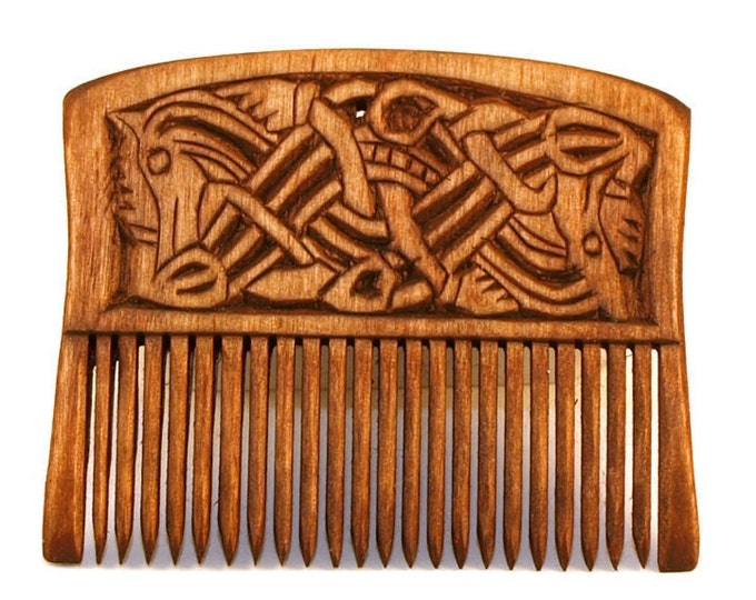 Viking Wooden Comb with two dragons