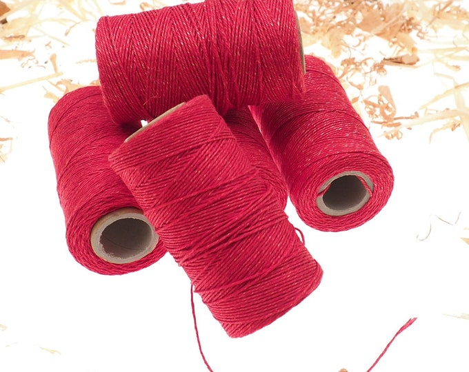 RED linen thread, unwaxed red Linen String , Warp Thread thickness of 1mm / 3ply 100grams (210 yards ~ 190 metres), linen sewing thread