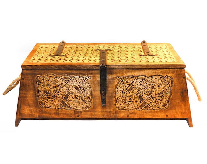 Personalized Viking Chest, hand carved, Norse pattern box, chest with forged fittings, perfect wedding gift, SCA and Larp, treasure chest