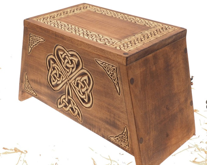Shamrock Wooden Urn For Human Ashes, Wooden Memorial Box, Hand Carved, Keepsake Cremation Urns, Cremation Boxes For Burial, Celtic pagan