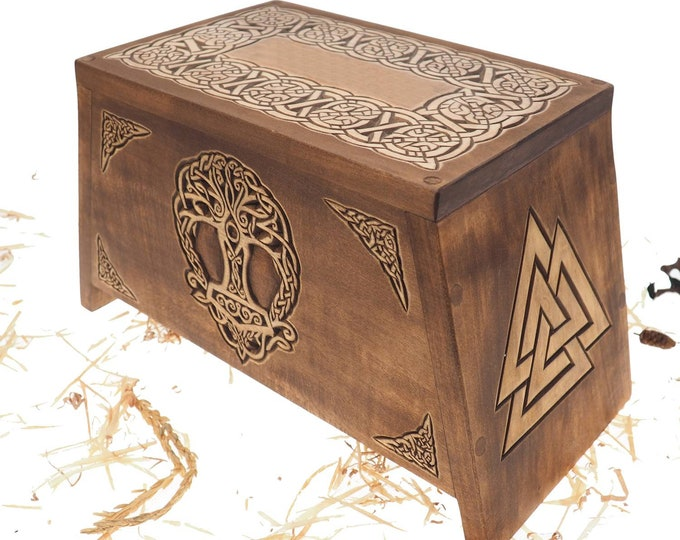 Thor hammer Yggdrasil Wooden Urn For Human Ashes, Wooden Memorial Box, Hand Carved, Keepsake Cremation Urns, Cremation Boxes For Burial