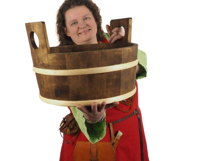 Wooden Tub,  Water Bucket , 3 galon, 13 Litre, wedding gift, SCA and Larp, handmade, pesonalized,