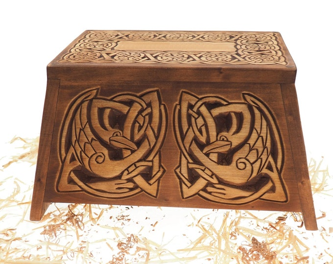 Celtic Wooden Urn For Human Ashes, Wooden Memorial Box, Hand Carved, Keepsake Cremation Urns, Cremation Boxes For Burial, Celtic pagan
