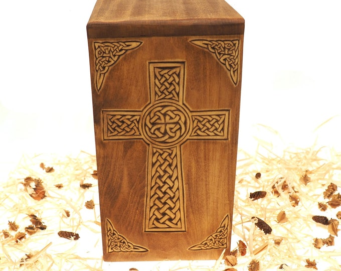 Personalized Wood Urn For Human Ashes, Wooden Memorial Box, Carved Keepsake Cremation Urns, Cremation Boxes For Burial Medieval Viking style
