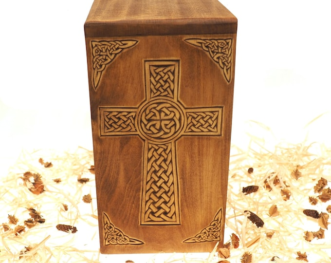 Personalized Wood Urn, For Human Ashes, Wooden Memorial Box, Carved Keepsake Cremation Urns, Cremation Box For Burial, Medieval Viking style