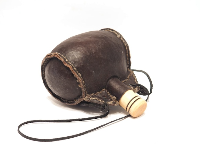 Small hand crafted authentic medieval wine skin with wooden stopper leather flask bladder ALL NATURAL Witcher