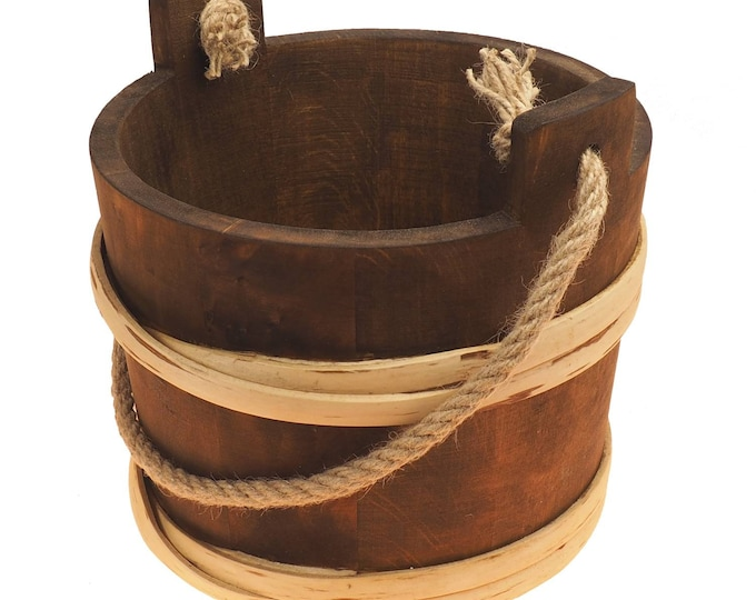 5 Litre Bucket With Rope Handle 1.3 US gallon wider at the top narrow bottom, viking, medieval, country,  handmade, witcher, game of thrones