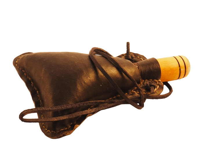 Small hand crafted authentic medieval wine skin with wooden stopper leather flask bladder ALL NATURAL