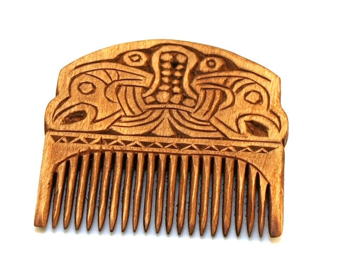 Viking Wooden Comb with two ravens - free shipping